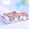 Opal Ring Rose Gold Opal Wedding Band Unique Eternity Matching Band