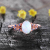 Oval White Opal Engagement Ring 14K Solid Rose Gold Opal Sapphire Ring Promise Ring