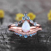 Vintage Opal Engagement Ring Set Rose Gold Wedding Set