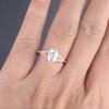 Oval Moissanite Engagement Ring 6x8mm Art Deco Rose Gold Wedding Ring