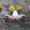 Pear Cut White Fire Opal Ring Vintage Blue Sapphire Gemstone Ring