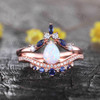 Pear Shaped Opal Engagement Ring Diamond Wedding Set Curve Blue Sapphire Stacking Band Bridal Set