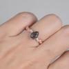 Pear Black Rutilated Quartz Wedding Ring Milgrain Diamond Engagement Ring Rose Gold