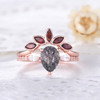 Black Rutilated Quartz Engagement Ring Rose Gold Wedding Ring Set Garnet Matching Band
