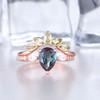 Alexandrite Engagement Ring Set Rose Gold Set Peridot Matching Band