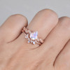 Pear Moonstone Engagement Ring Set Moonstone Eternity Band Stacking Crown Ring June Birthstone