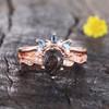 Black Rutilated Quartz Ring Set Rose Gold Wedding Ring Set Topaz Matching Band