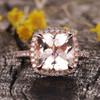 3 Carat Morganite Ring Diamond Engagement Ring Halo 9mm Cushion Hollow Band 14k/18k