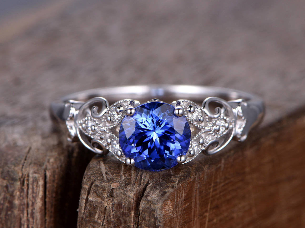 Art Deco Blue Sapphire Engagement Ring Bbbgem
