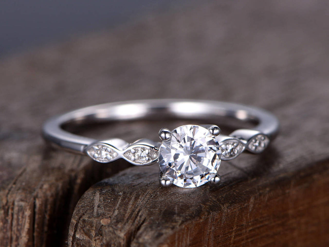 178c48df26017 5mm Round Cut CZ Engagement ring,925 sterling silver wedding band,White  gold plated,Simple and classic Bridal ring,Retro vintage, pave set