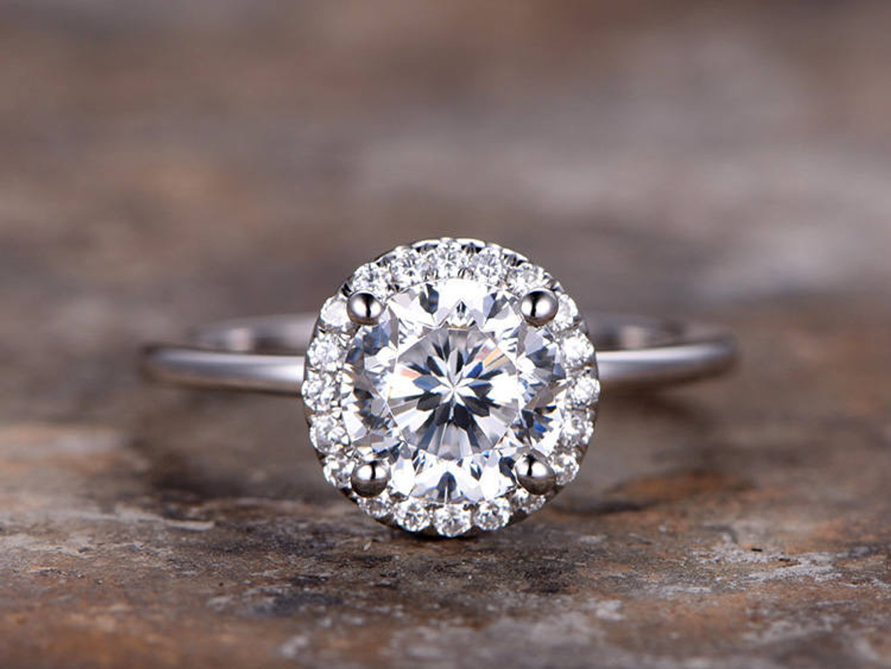 6mm Round Moissanite Engagement Ring For Women 18K White Gold Plated Silver 925