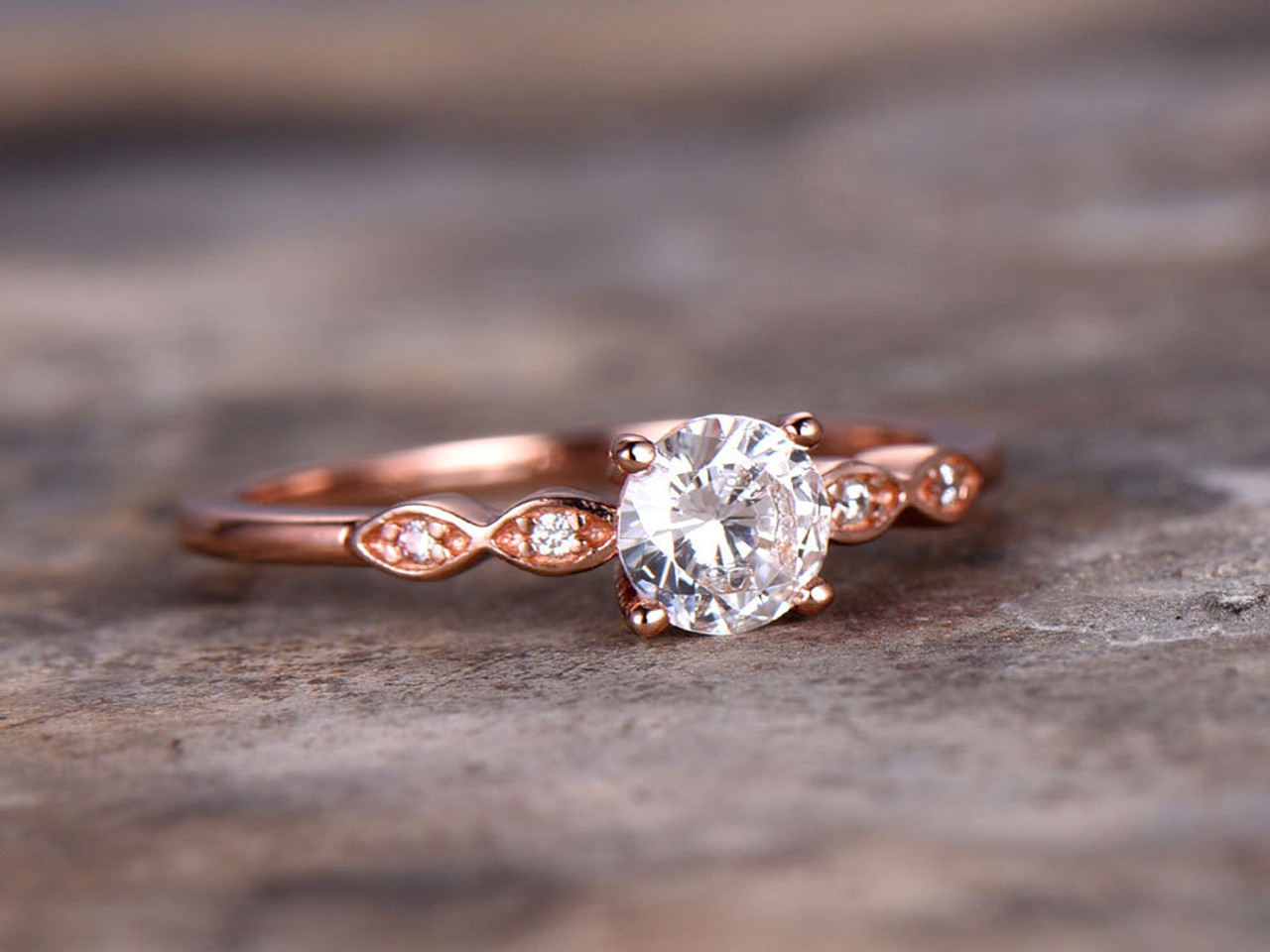 5mm Round Cut Cz Engagement Ring 925 Sterling Silver Wedding Band Rose Gold Plated Simple And Classic Bridal Ring Retro Vintage Pave Set Bbbgem