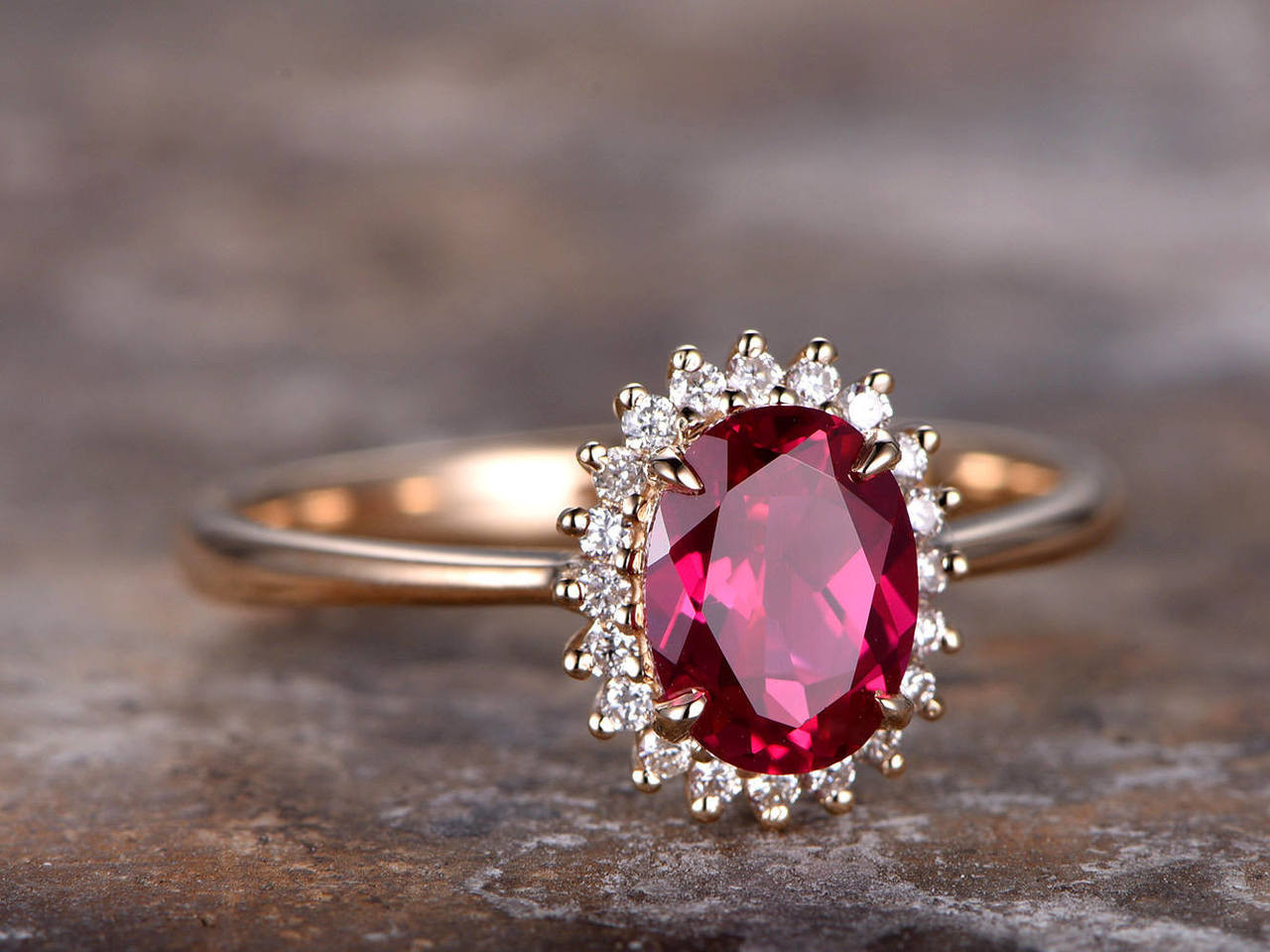 7a1341324e9e52 6x8mm Oval Cut Lab treated Ruby Engagement ring rose gold plated,925  sterling silver retro vintage wedding band,Bridal ring,Women's ring - BBBGEM
