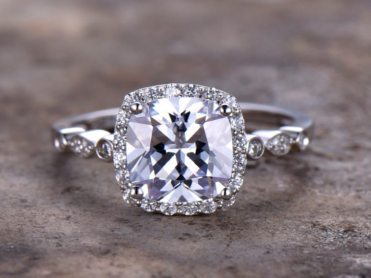 Vintage Style Engagement Ring Antique Cushion Cut Engagement Ring Cushion Cut Solitaire Engagement Ring