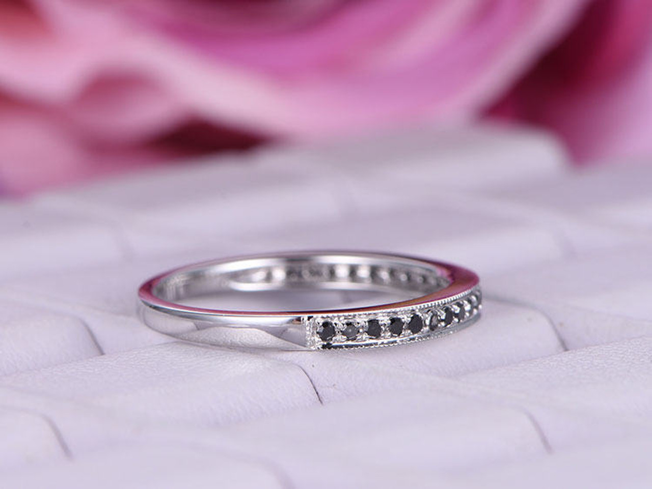 Diamond wedding band or stacking rings,comfort fit white,yellow or pink pave setting,14 K gold hand made in U.S. rose