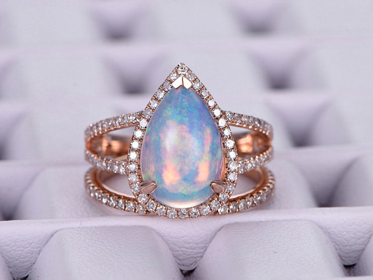 Pear shaped African Opal Engagement ring set 14k rose gold