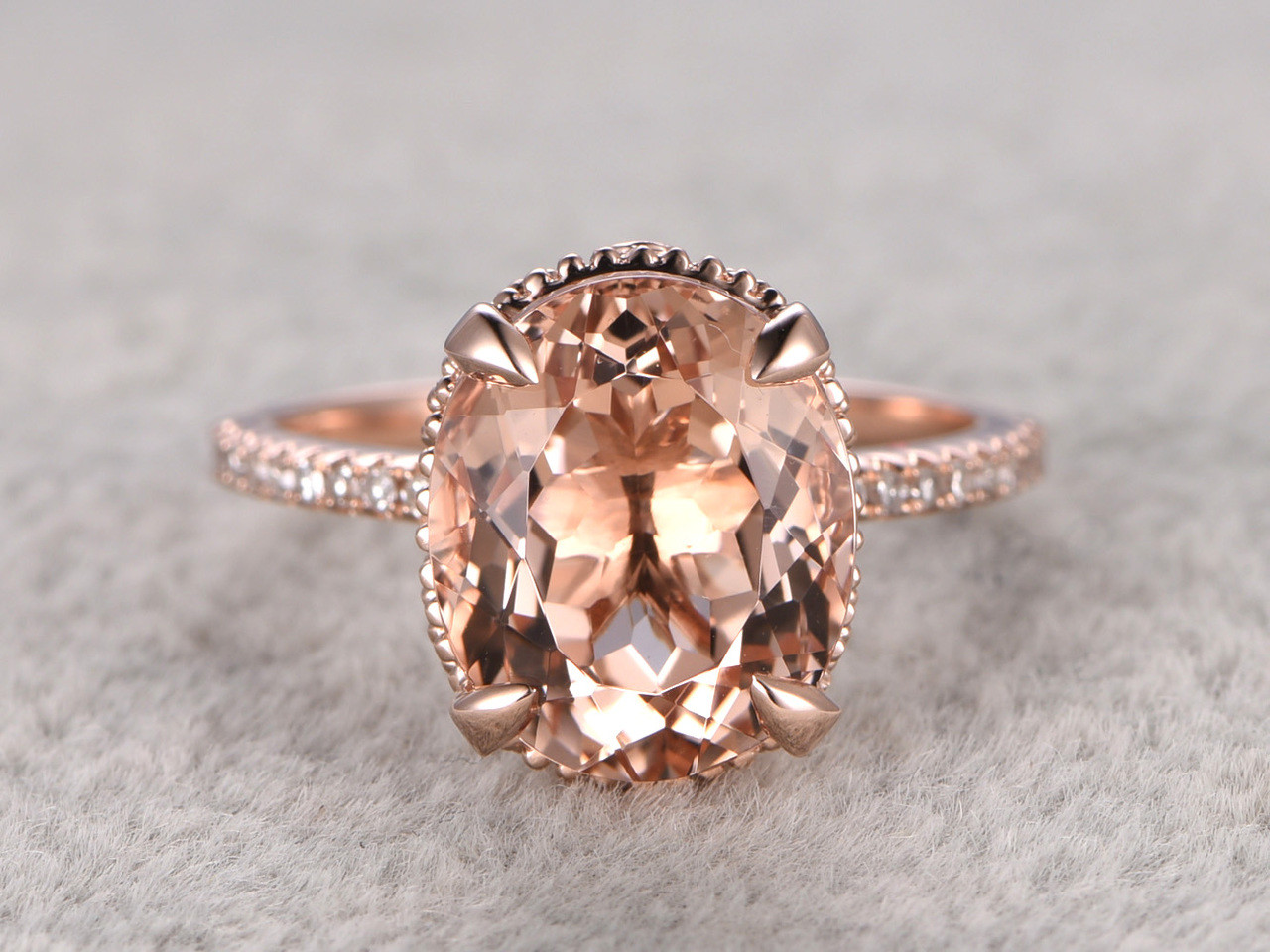 3 Carat Morganite Engagement Ring,Morganite Engagement Ring | BBBGEM