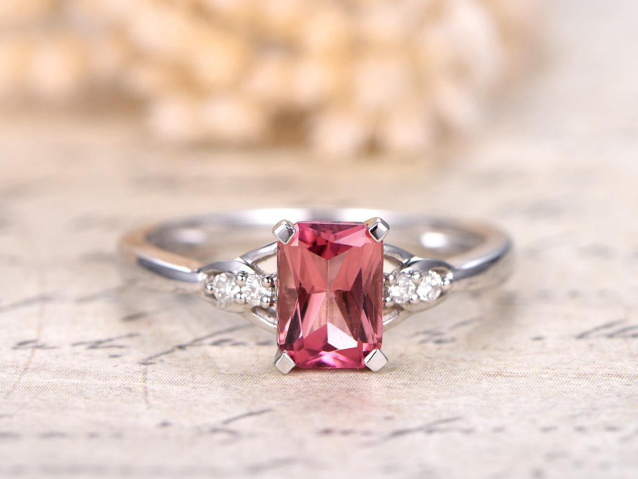 Dainty emerald ring garnet ring diamond ring pink tourmaline ring