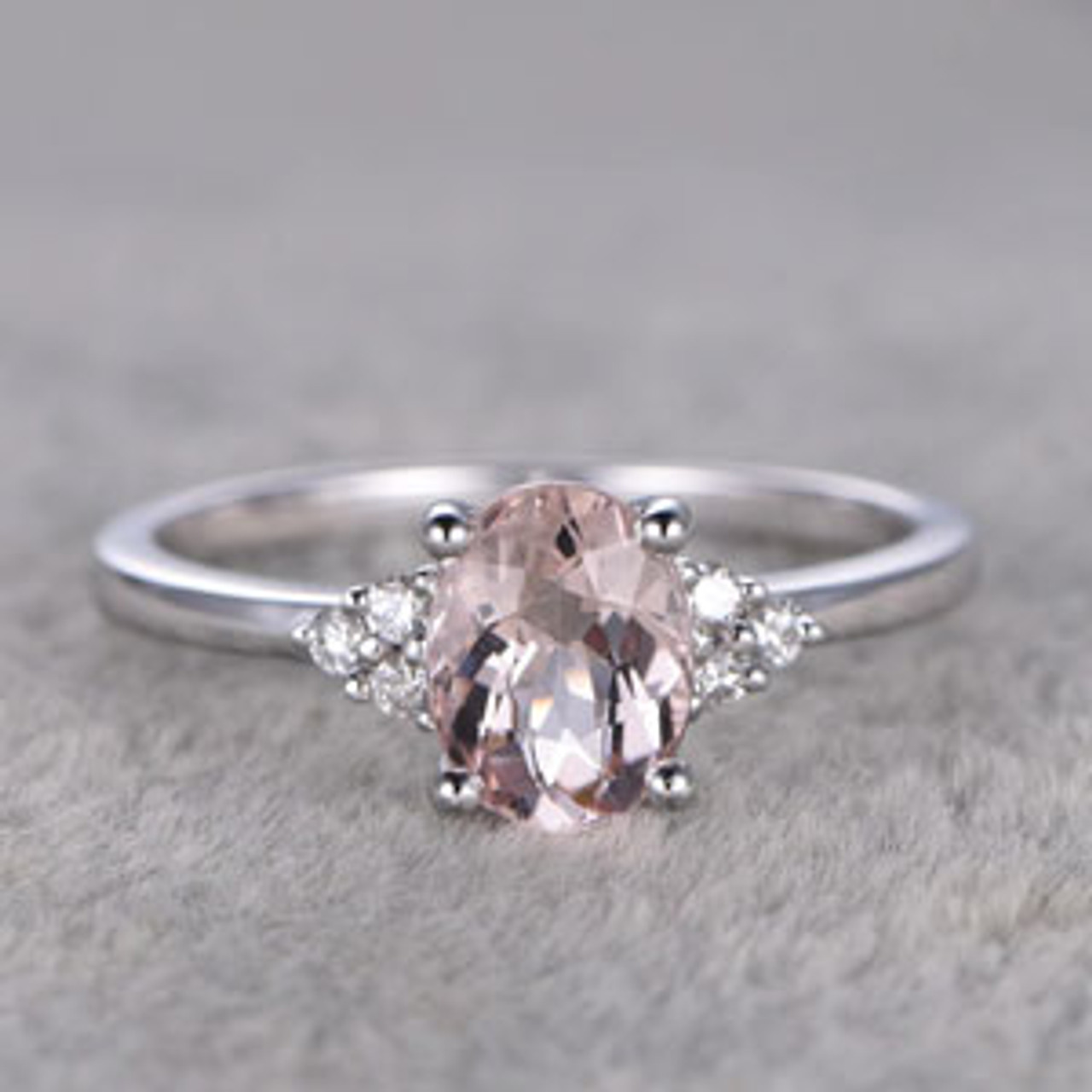 925 Sterling Silver 0.86 Ct Oval Peach Morganite White Topaz Engagement Ring