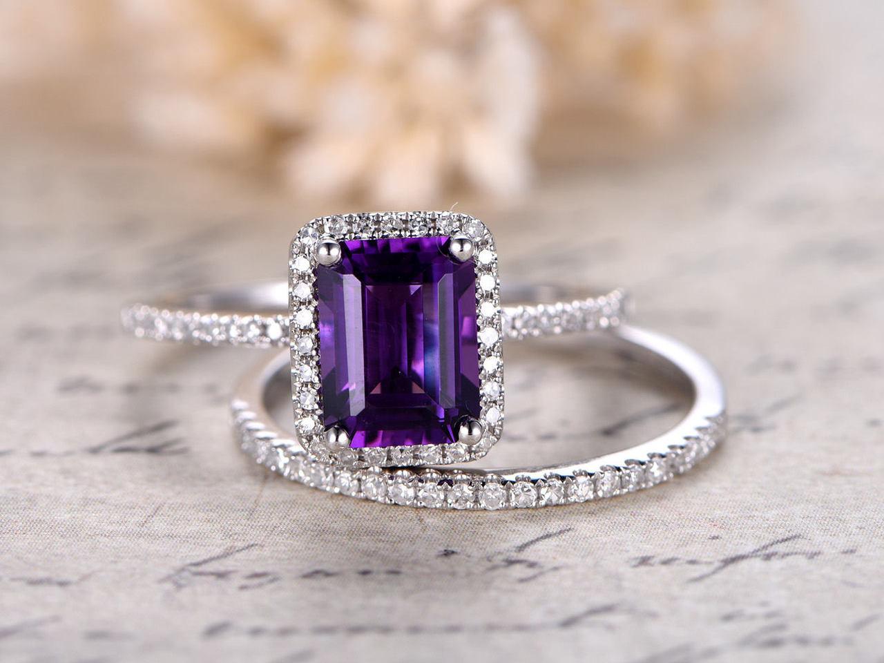 Amethyst Wedding Ring Set Emerald Cut 6x8mm Amethyst Engagement