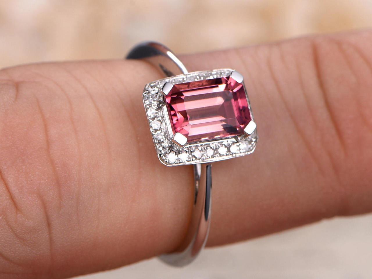 Rose Gold Engagement Ring Pink Tourmaline Ring Pink Engagement Ring Emerald Cut Halo Engagement Ring Art Deco Engagement Ring Unique Rings