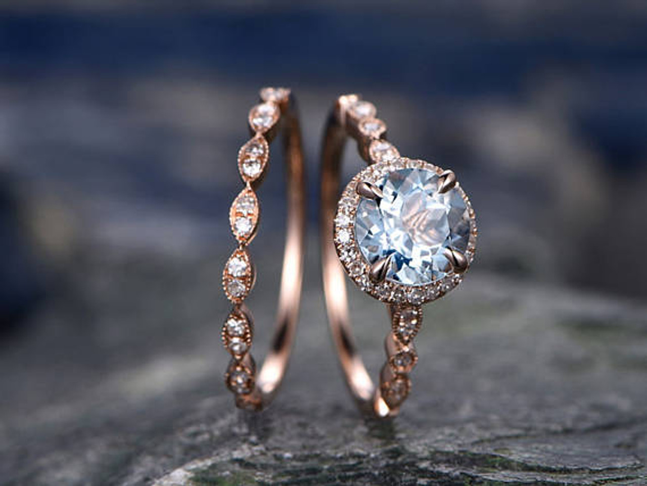 Blue Aquamarine engagement ring set-Solid 14k rose gold-handmade Diamond Wedding ring-2PC Stacking ring-7mm Round shape Marth Birthstone
