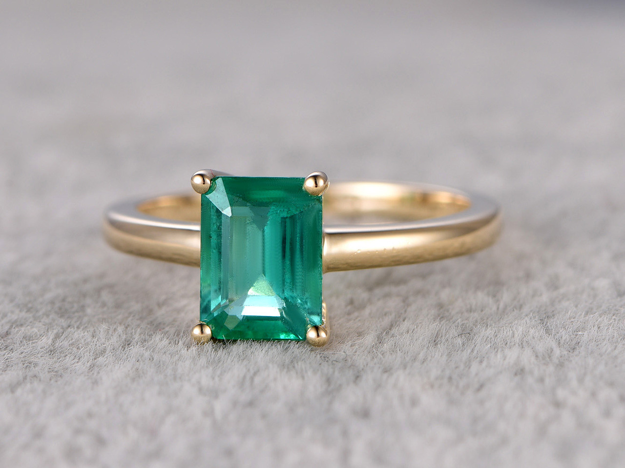 6x8mm Emerald Cut Natural Emerald Engagement Ring 14k Yellow Gold Wedding Ring Antique