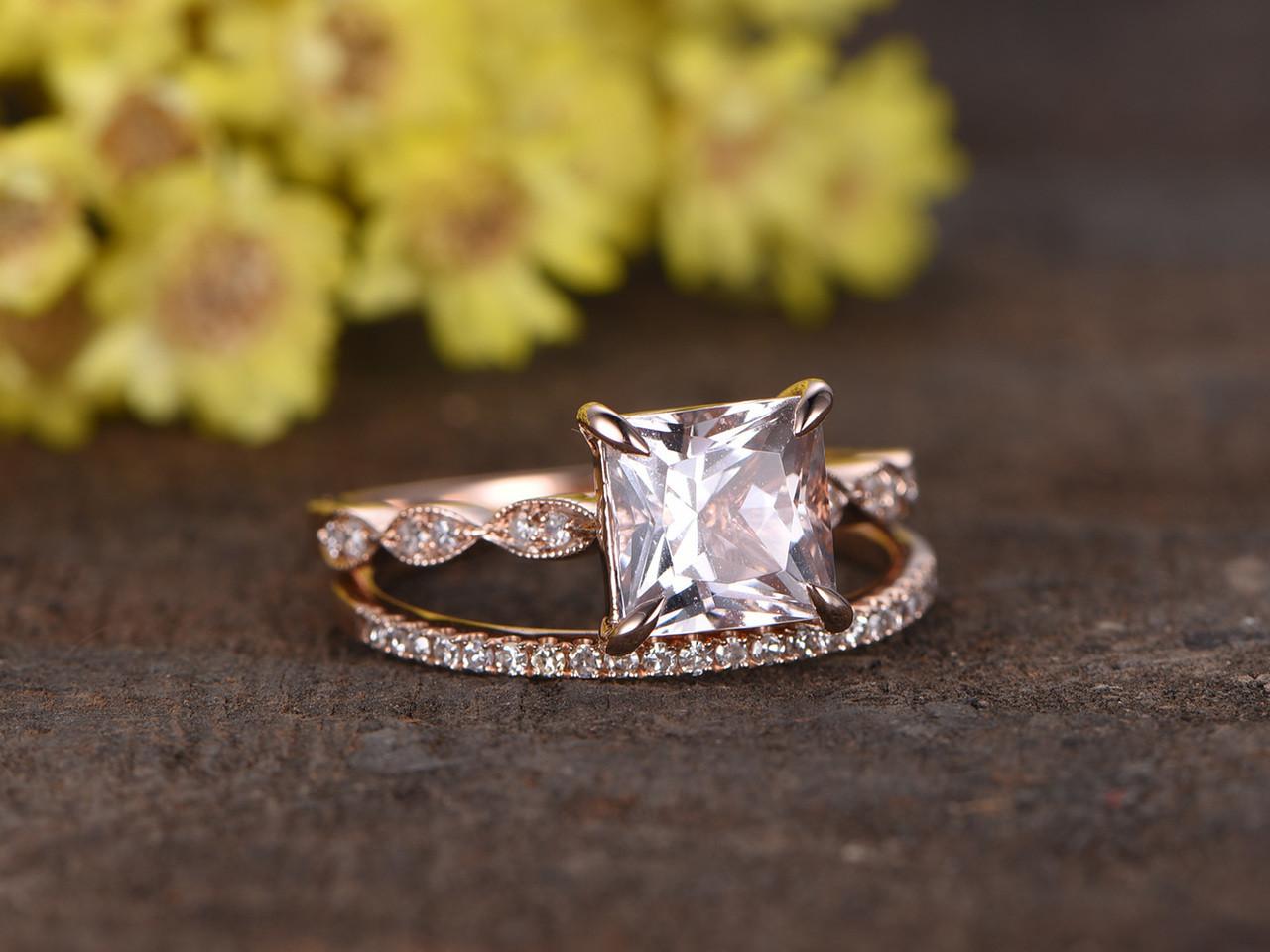 1 2 Carat Princess Cut Morganite Rose Gold Wedding Set Bbbgem
