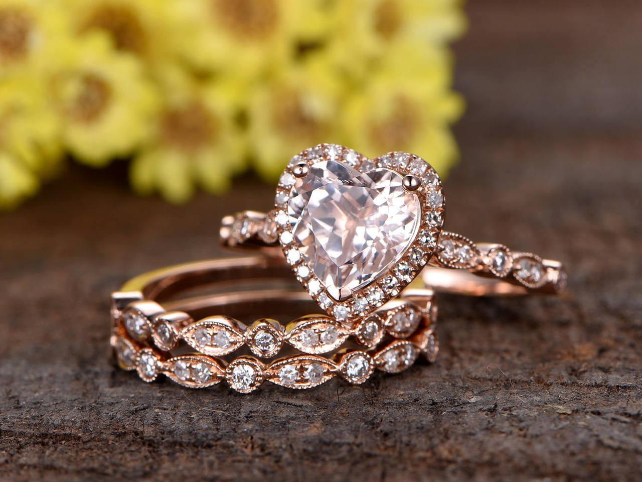 7mm heart shaped pink Morganite engagement ring set 84fe1f51d9