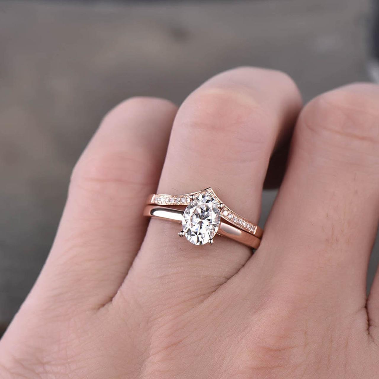 Moissanite Engagement Ring Plain Yellow Gold Wedding Ring Bridal Ring,stacking promise ring Oval Engagement Ring Oval Solitaire Ring