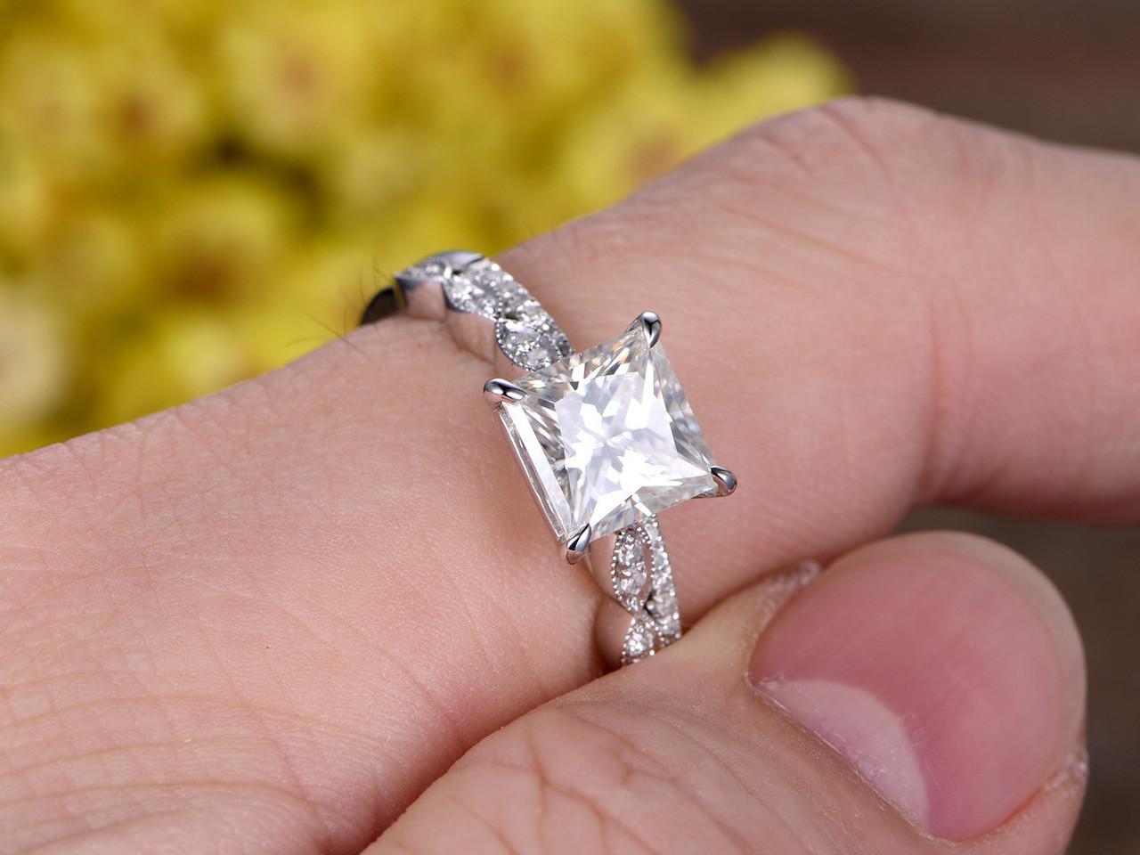 2 Carat Princess Cut Moissanite Engagement Ring Set Diamond Wedding Band 14k White Gold Art Deco Half Eternity Bbbgem