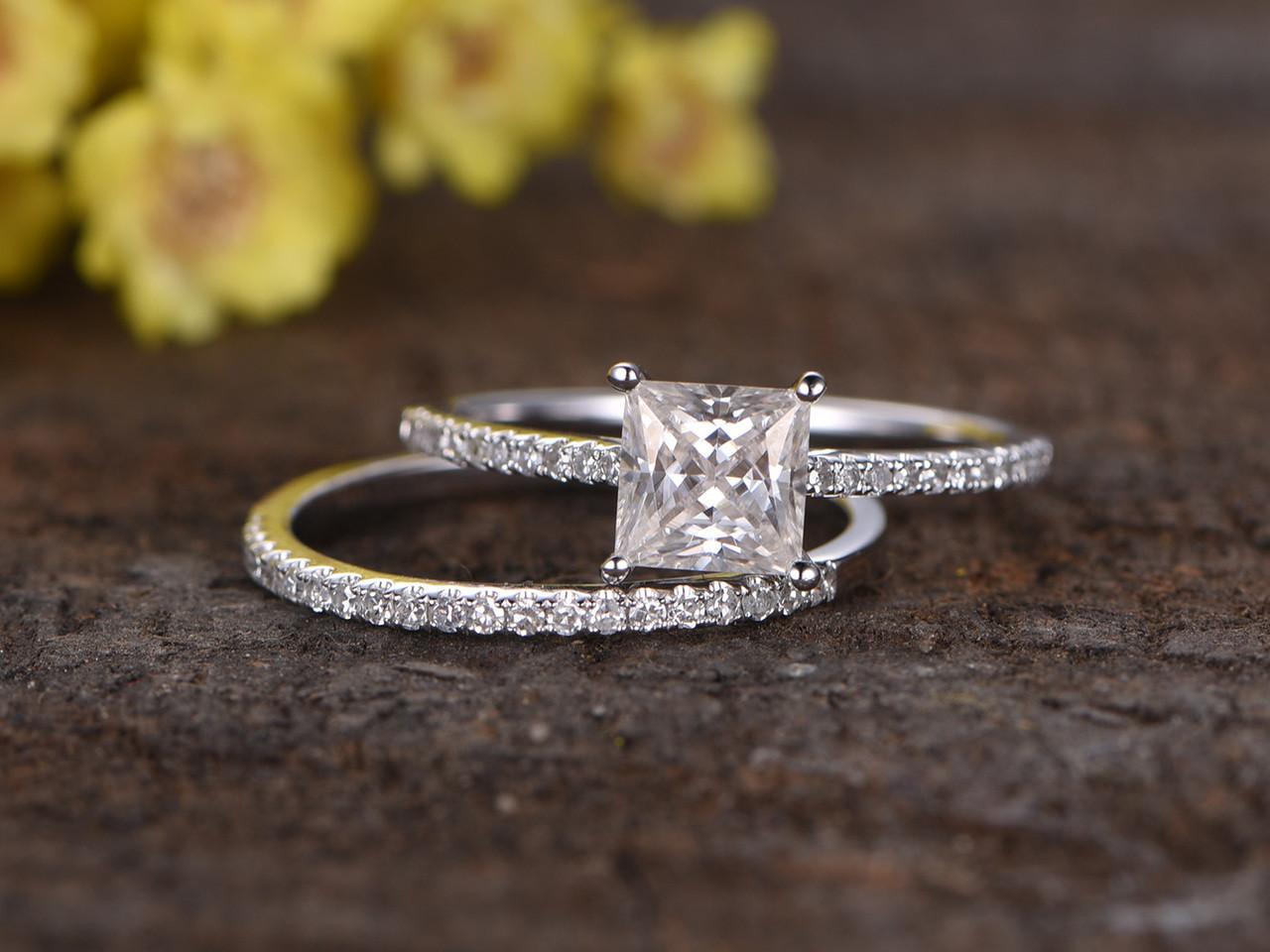 1 Carat Princess Cut Moissanite Engagement Ring Set Diamond Wedding Band 14k White Gold Art Deco Half Eternity Bbbgem