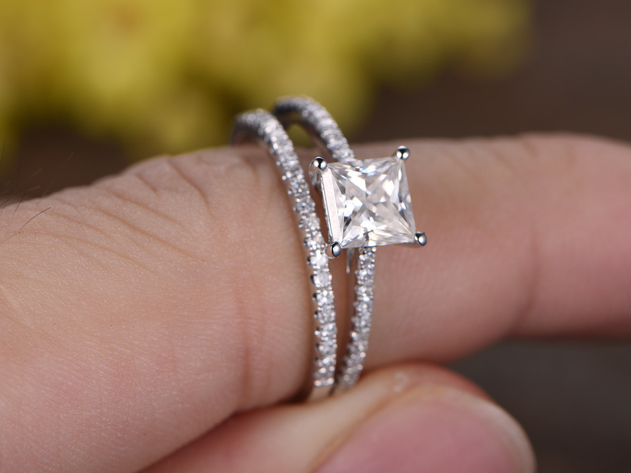 1.5ct princess cut diamond solitaire engagement ring wedding 14k white gold over