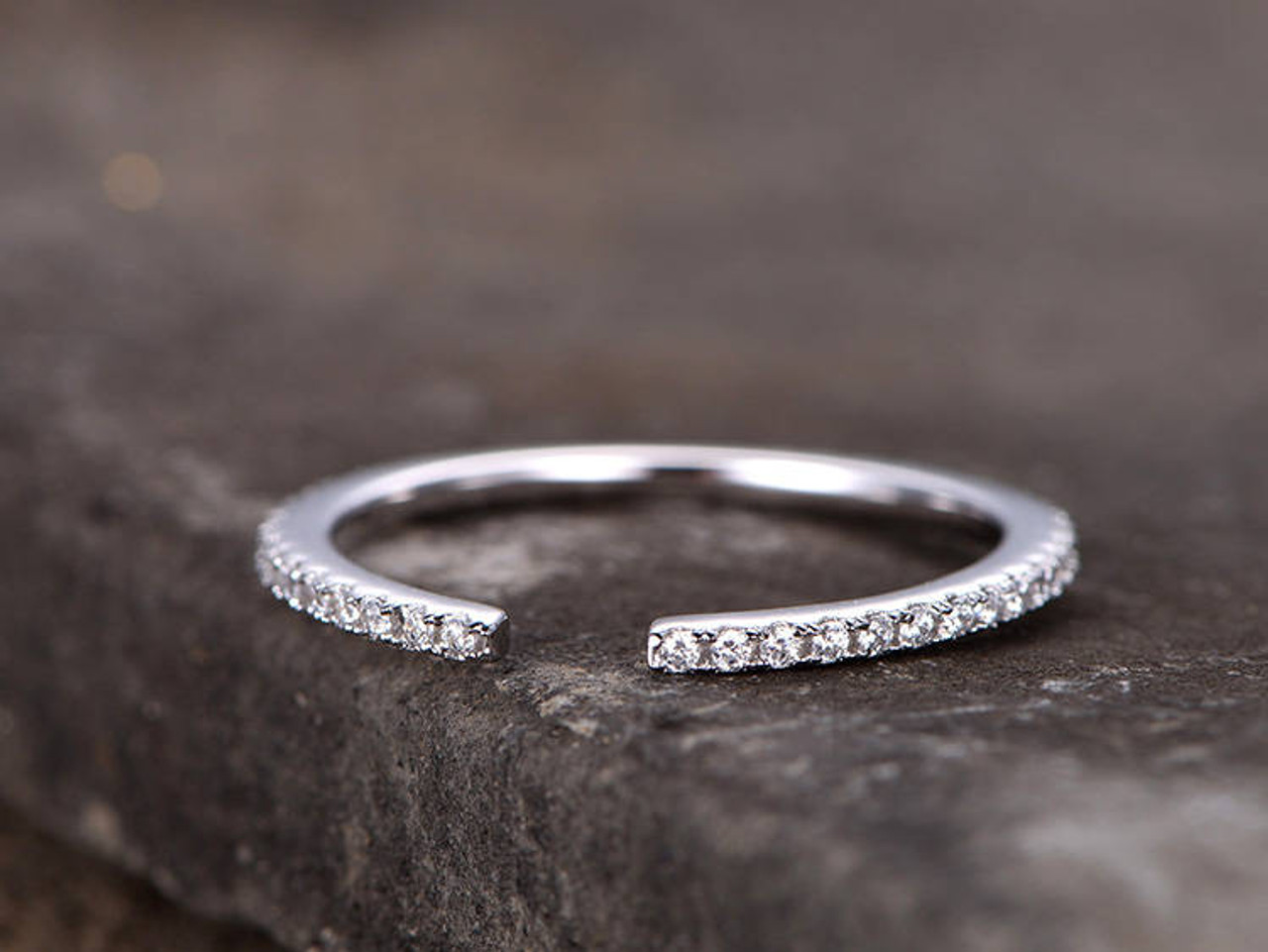 Sterling Silver 925 Cubic Zirconia pave band gold plate stacking skinny ring