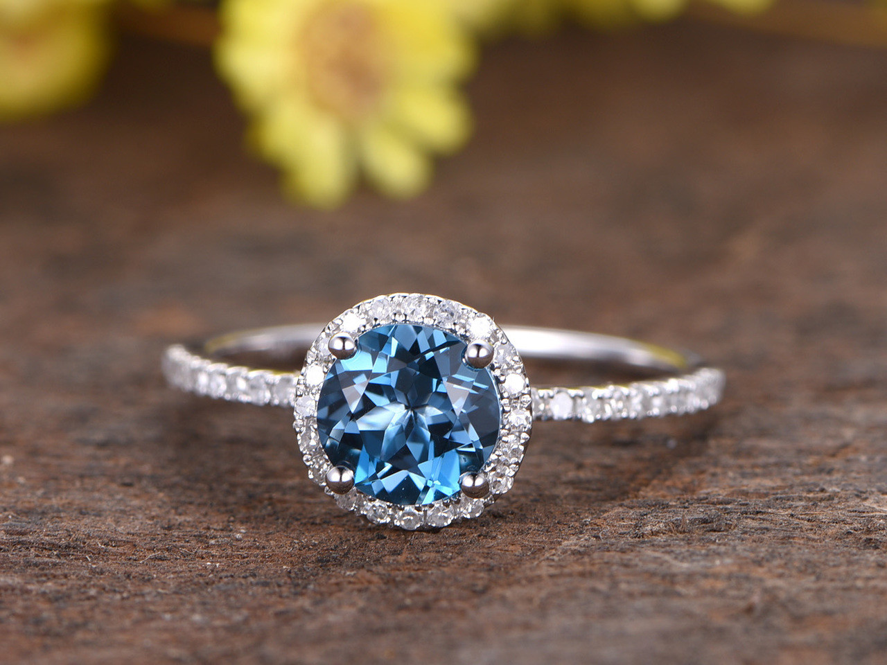 1 2 Carat London Blue Topaz Engagement Ring With Diamond 14k White Gold Halo Stacking Band Bbbgem