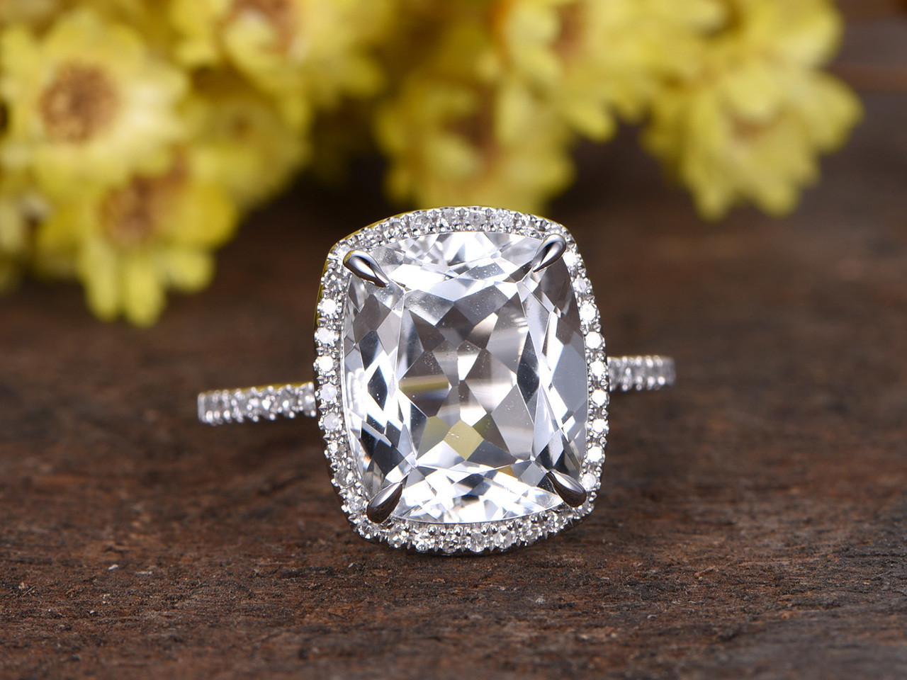 5 Carat White Topaz Engagement Ring With Diamond White