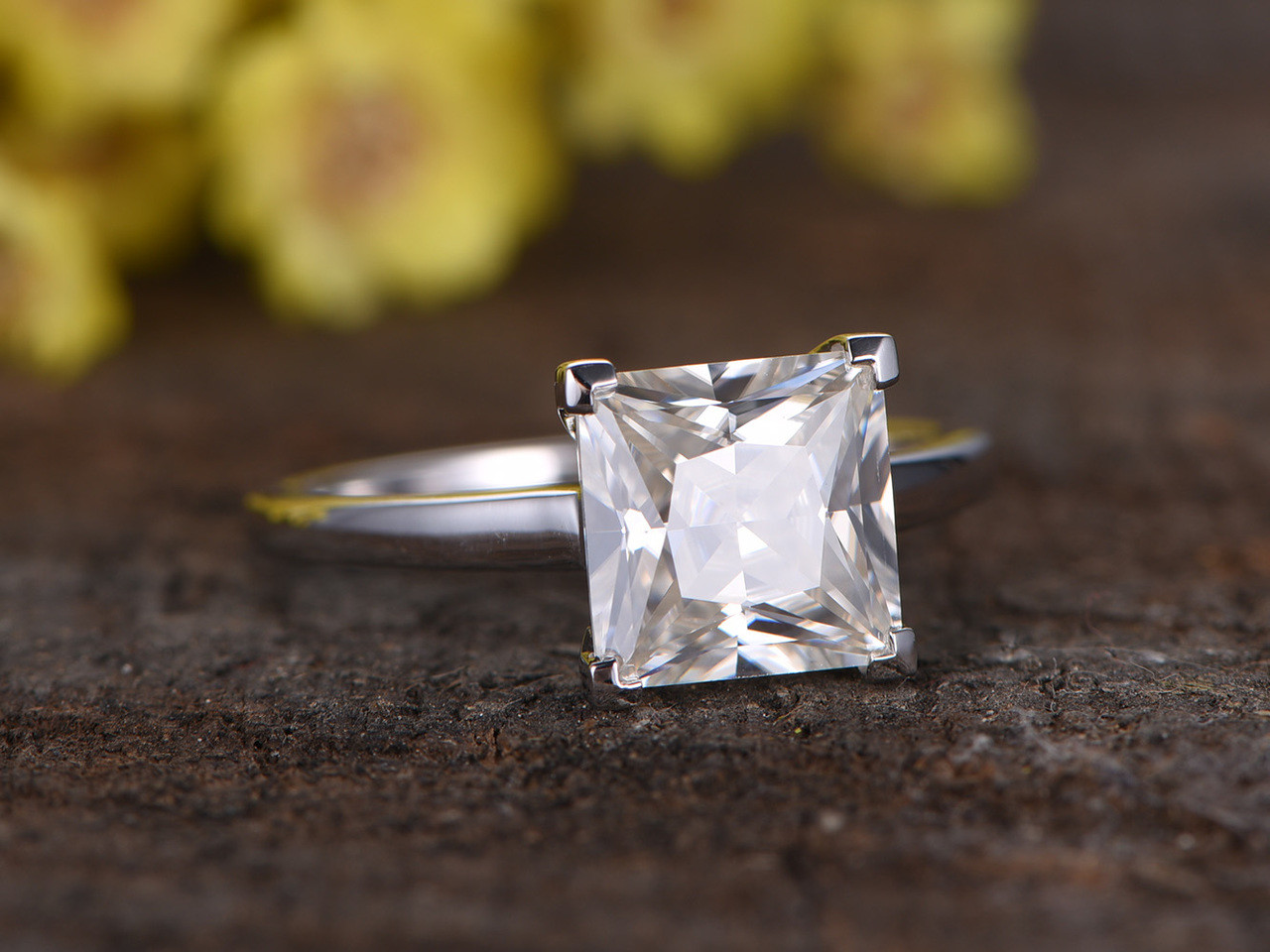 3 Carat Princess Cut Moissanite Solitaire Engagement Ring 14k White Gold Thick Stacking Band