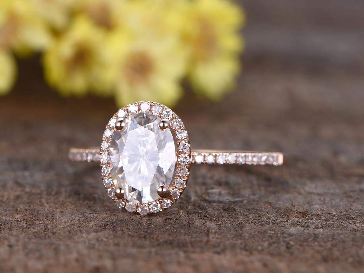 1 5 Carat Oval Moissanite Engagement Rings Diamond 14k Rose Gold Halo Thin  Design Stacking Band