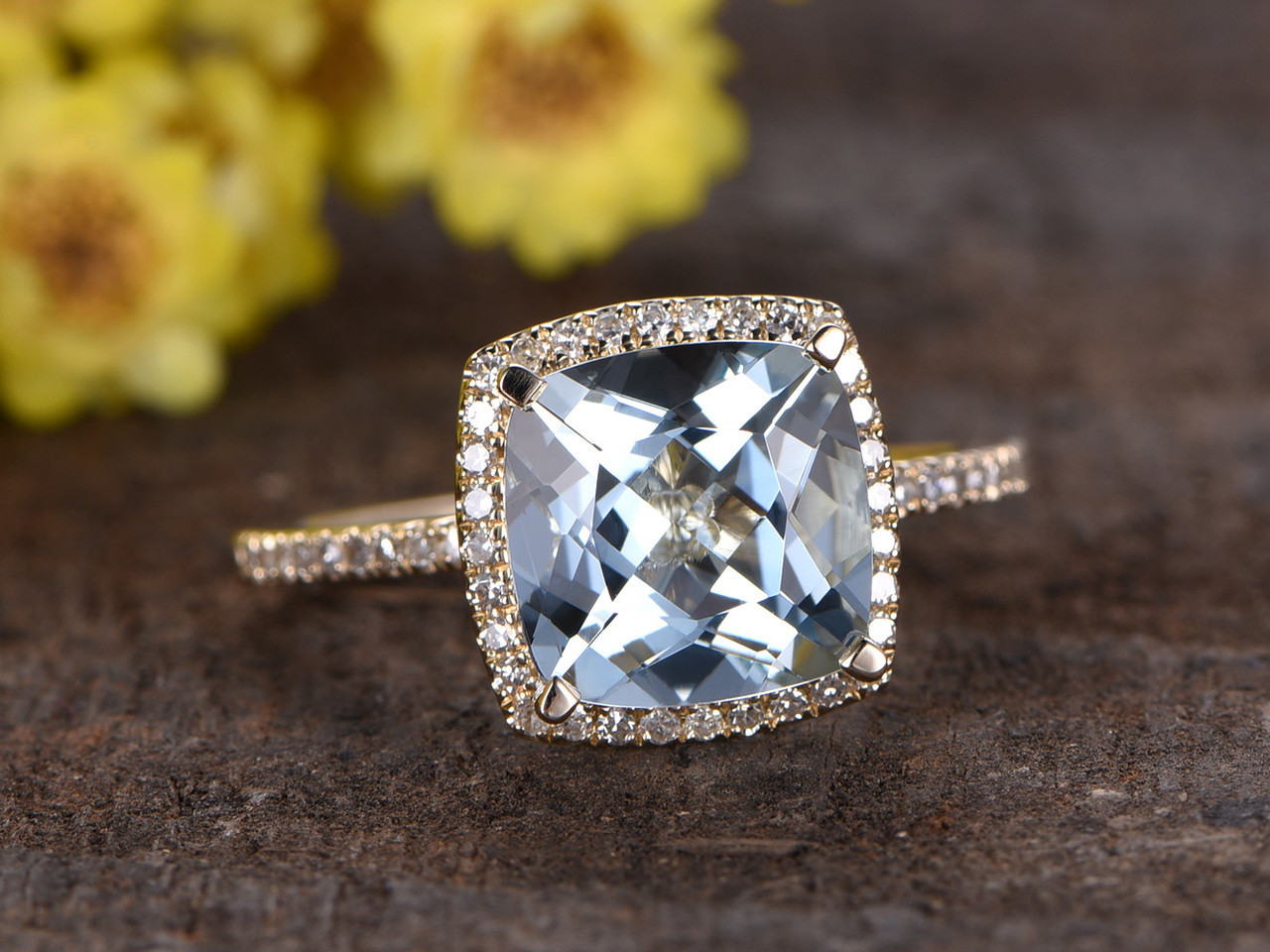 38323ee44039c 3 Carat Cushion Cut Aquamarine Diamond Engagement Ring 14k Yellow Gold  Birthstone Halo Stacking Band