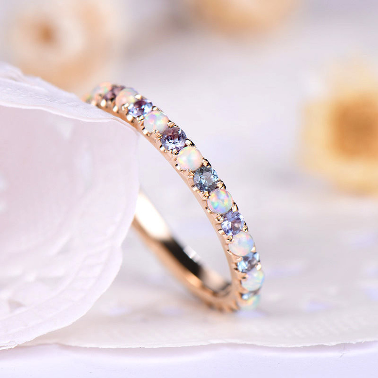 Opal Wedding Band Color Change Alexandrite Engagement Ring