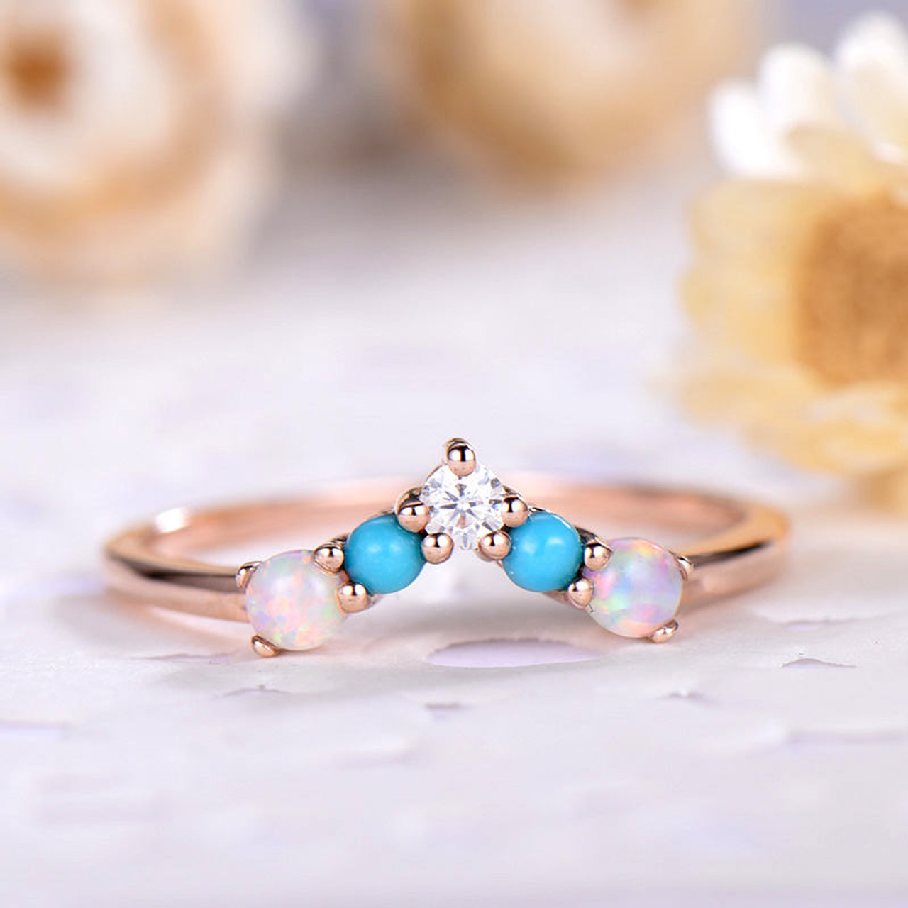 Opal Wedding Band.Opal Wedding Band Rose Gold With Turquoise V Eternity Wedding Ring In 925 Sterling Silver Man Made Cz Diamond Unique Matching Band