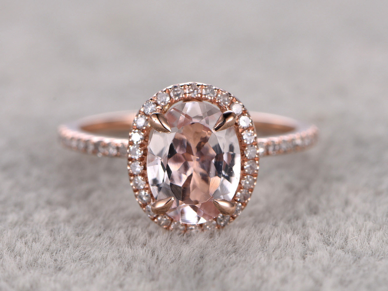 9579c1e470901 1.2 Carat Oval Morganite Engagement Ring Diamond Promise Ring 14k Rose Gold  Halo Stacking Band