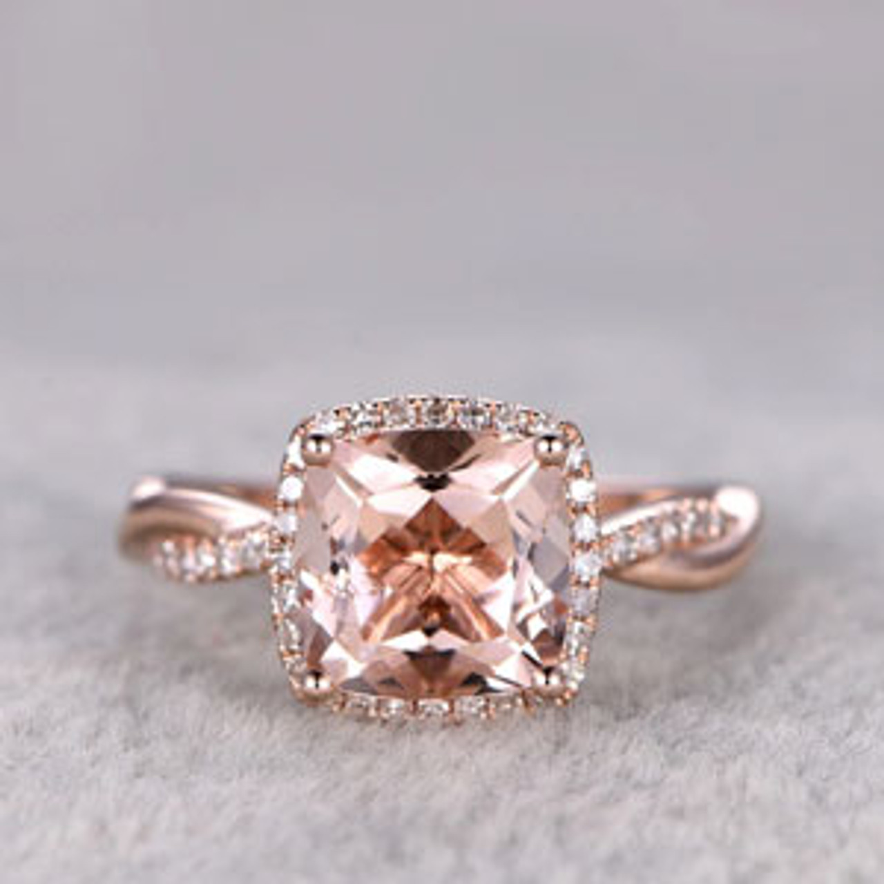 2 4 Carat Cushion Cut Morganite Engagement Ring Diamond Promise Ring 14k Rose Gold Infinity Twisted Halo Stacking Band
