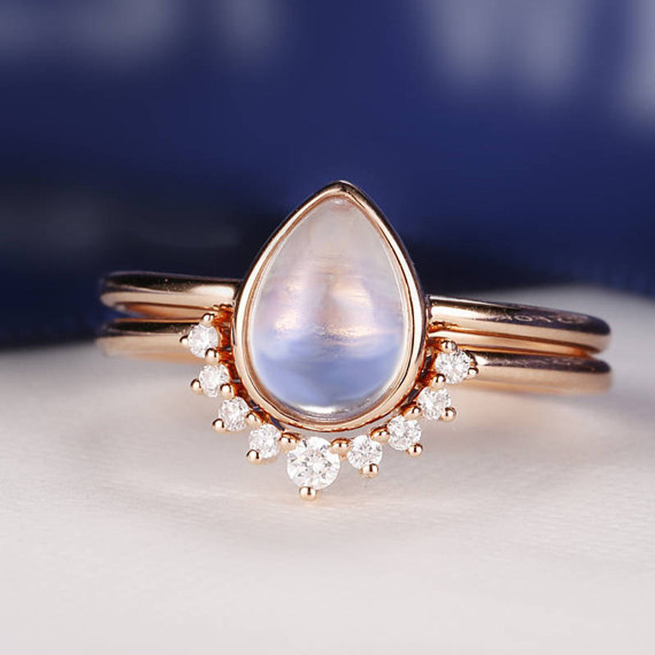 Moonstone Engagement Ring Rose Gold Vintage Delicate Diamond Wedding women  Bridal set jewelry Simple Pear Shaped Cut Stacking Anniversary - BBBGEM 92cb24f9bf10
