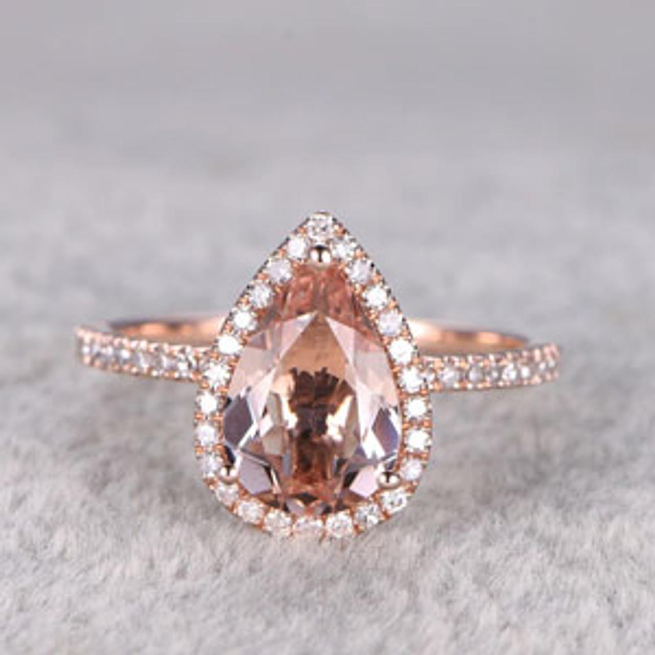 2 Carat Pear Shaped Morganite Engagement Ring Diamond
