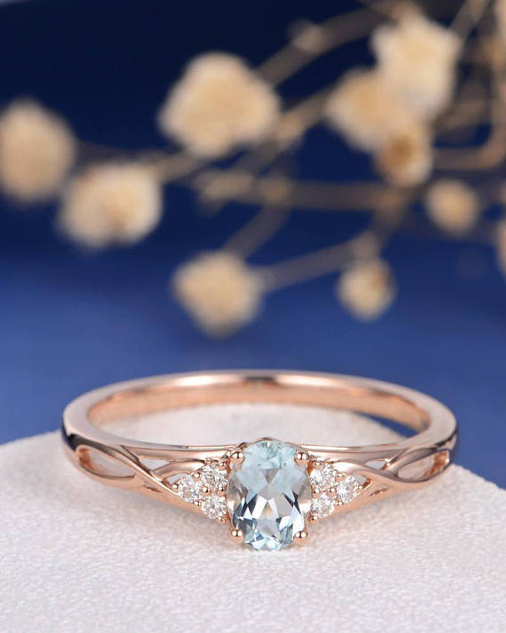 b89e66575044a Aquamarine Ring Engagement Ring Rose Gold Cluster Ring Oval Cut Infinity  Diamond Split Shank Antique Anniversary Promise birthstone Women