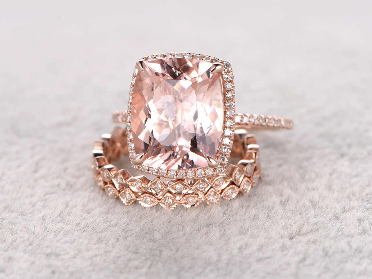 5 Carat Cushion Cut Morganite Wedding Set Diamond Bridal Ring 14k Rose Gold Halo Art Deco Full Eternity Band