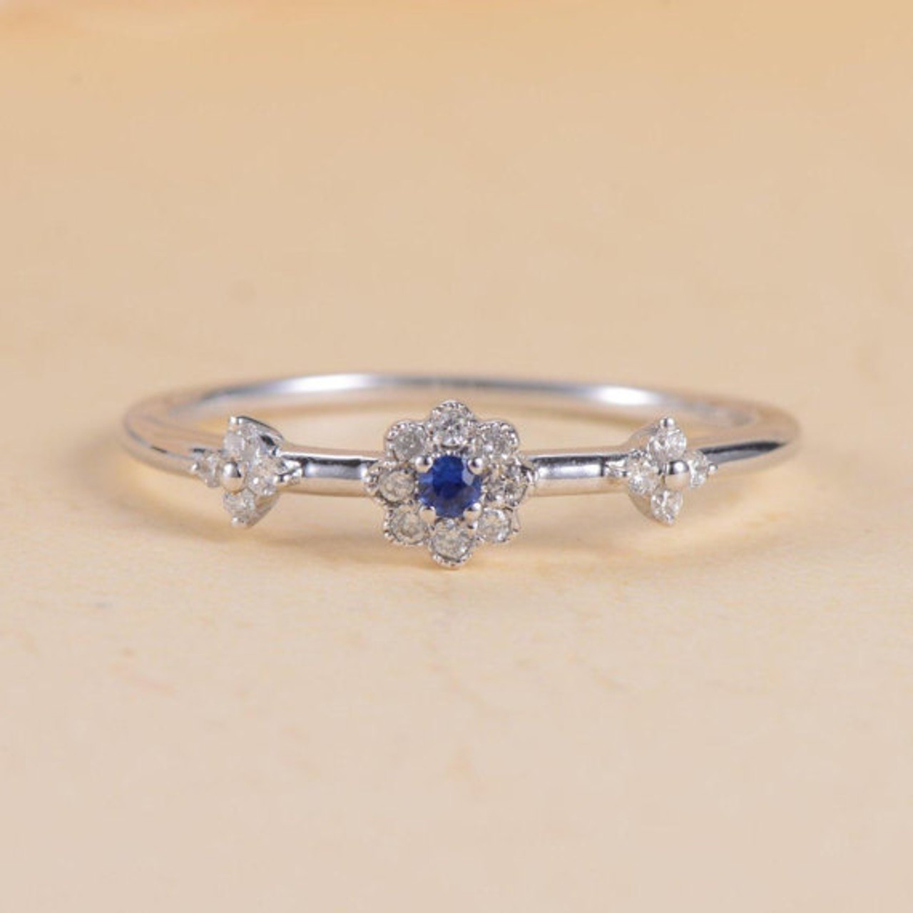 53e4d18bc6d9a Blue Sapphire Ring Halo Antique Diamond Flower White Gold Engagement Ring  Anniversary Promise Wedding Unique Tiny Dainty Micro Pave Ring