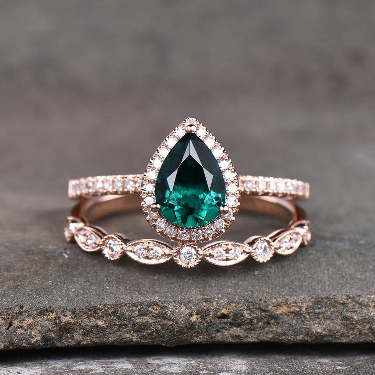 It is a graphic of 45 Carat Teardrop Emerald Engagement Ring Set Diamond Wedding Band 454k Yellow Gold Art Deco Milgrain Stacking