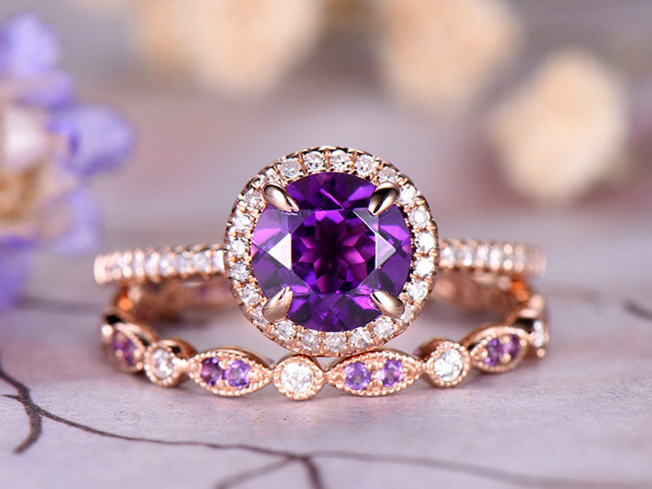 7mm Round Cut Amethyst Engagement Ring Set Marquise Dianond Wedding
